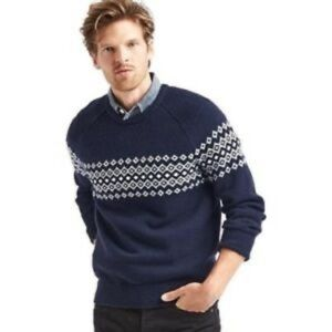 Gap Men's Nordic Blue and White Sweater Large